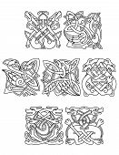image of embellish  - Abstract contoured animals and birds in traditional celtic knot style decorated tribal geometric ornament suitable for totem medieval styled embellishment  design - JPG