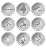 picture of slip hazard  - Monochrome security and safety related icons isolated on white background - JPG