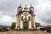 stock photo of assis  - View of the Igreja de Sao Francisco de Assis of the unesco world heritage city of ouro preto in minas gerais brazil - JPG