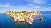 picture of lagos  - Aerial from Ponta Piedade with the lighthouse in Lagos Portugal - JPG
