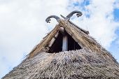 foto of roof-light  - Part of viking age village replica in southern Sweden in early spring - JPG
