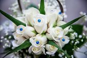 image of rose close up  - beautiful tender bridal bouquet from white roses and other flowers close up  - JPG