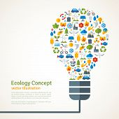 foto of ecology  - Light Bulb with ecology Icons Pattern - JPG