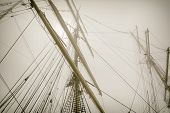 picture of mast  - Image Of Masts Of Sailboats In The Fog - JPG