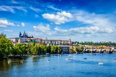 picture of bridge  - Vltava river and Gradchany  - JPG