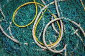 stock photo of tamil  - Fishing net and ropes close up - JPG