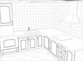 picture of interior sketch  - Kitchen vector sketch interior - JPG