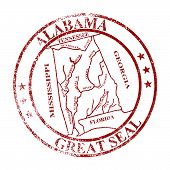 pic of alabama  - The great seal of Alabama rubber stamp isolated on a white background - JPG