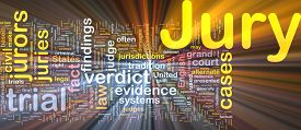 image of jury  - Background text pattern concept wordcloud illustration of jury glowing light - JPG