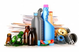 pic of segregation  - Recyclable garbage consisting of glass plastic metal and paper isolated on white background - JPG