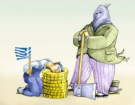 picture of beheaded  - a banker dresses as Executioner to behead a worker with a Greek flag on a stump of coins - JPG