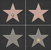 stock photo of terrazzo  - 4 Walk Of Fame Type Star Vector Illustration - JPG