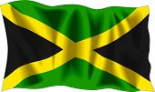 foto of jamaican flag  - Waving flag of Jamaica isolated on white - JPG