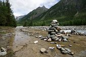 Mountain river Shumak. Stones pyramids. Sayan mountains. Buryat republic. Russia. Siberia.