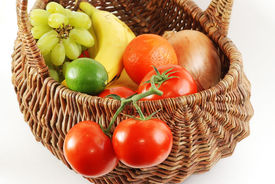 picture of tangelo  - Antique wicker basket filled with fresh fruit and vegetables  - JPG