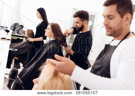 poster of Hairdressers Make Haircut For Women Of Different Age Categories In Beauty Salon. Grandmother, Mother