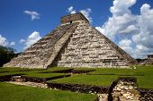 stock photo of yucatan  - Ancient Mayan pyramid - JPG