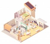 Vector Isometric House Cross-section. Garage, Kitchen, Living Room, Bedroom And Bath Included. Solar poster
