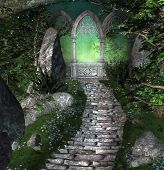 Ancient Portal In The Middle Of A Mysterious Fantasy Forest - 3d Illustration poster