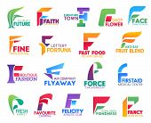 Corporate Identity Letter F Business Icons. Vector Ecology And Religion, Furniture And Floristry, Be poster
