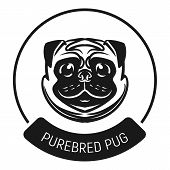 Purebred Pug Logo Icon. Simple Illustration Of Purebred Pug Logo Vector Icon For Web Design Isolated poster