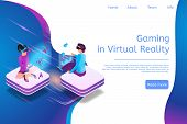 Isometric Banner Gaming In Virtual Reality In 3d. Illustration People Play Video Game Using Virtual  poster