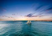 Schooner Under Sails Sailing Across A Bay Under Beautiful Skies poster