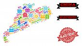 Black Friday Combination Of Mosaic Map Of Guangdong Province And Scratched Stamp Seal. Vector Red Im poster