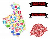 Black Friday Composition Of Mosaic Map Of Podlasie Province And Scratched Seal. Vector Red Seal With poster
