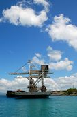 foto of coal barge  - Ship loading coal in the Philippines for power plant