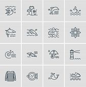 Illustration Of 16 Naval Icons Line Style. Editable Set Of Stripped Vest, Lighthouse, Cod Fish And O poster