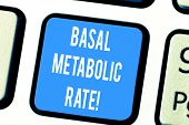 Word Writing Text Basal Metabolic Rate. Business Concept For Minimum Energy Level Require To Sustain poster