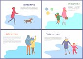 Wintertime Couple Walking In Winter Season Set Vector. Mother And Child Holding Balloons, Person Wit poster