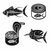 Tuna Icons Set. Simple Set Of Tuna Vector Icons For Web Design On White Background poster