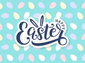 Happy Easter Lettering Logo On Seamless Easter Eggs Background. Template For Easter Cards, Postcards poster