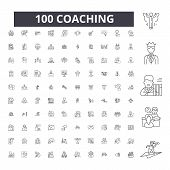 Coaching Editable Line Icons, 100 Vector Set, Collection. Coaching Black Outline Illustrations, Sign poster