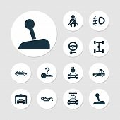Automobile Icons Set With Not Key, Garage, Gear Lever And Other Passenger Protection Elements. Isola poster