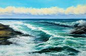 Original Oil Painting Showing Waves In  Ocean Or Sea On Canvas. Modern Impressionism, Modernism,mari poster