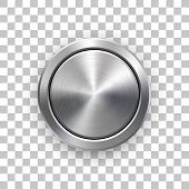 Abstract Circle Geometric Badge, Technology Perforated Button Template With Metal Texture, Chrome, S poster