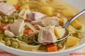 Portion of chicken noodle soup closeup poster
