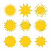 Sun Icons Vector Collection. Sun Icons Yellow. Sun Icon Set. Vector Suns Icon poster