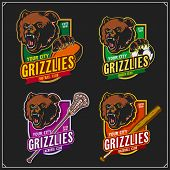 Football, Soccer, Lacrosse And Baseball Logos And Labels. Sport Club Emblems With Grizzly Bear. Prin poster