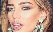 Beauty On Party. My Favorite Earrings. Girl With Sexy Lips Makeup. Fashion Model With Trendy Look. S poster