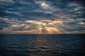 Cloudscape With Sunrays Over Sea In London, United Kingdom. Sea On Cloudy Sky. Clouds On Dramatic Sk poster