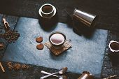 Concept - Preparing Of Coffee. Coffee Cup, Mocha, Coffee Maker, Roasted Beans, Spoons, Turkisch Cezv poster
