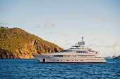 Yacht At Sea Coast On Sunny Blue Sky In Gustavia, St.barts. Yachting And Sailing Adventure. Luxury T poster