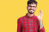 Young handsome man wearing glasses over isolated background Waiving saying hello happy and smiling,  poster