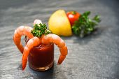 Glass Shrimp Cocktail In Tomato Sauce / Shellfish Seafood Boiled Shrimps Prawns Ketchup Ocean Gourme poster