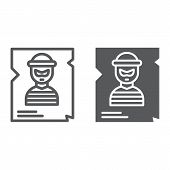 Wanted Line And Glyph Icon, Police And Reward, Poster Sign, Vector Graphics, A Linear Pattern On A W poster
