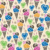 Ice Cream Fun-sweet Dreams Seamless Repeat Pattern Illustration . Pattern Background In Pink, Blue,  poster